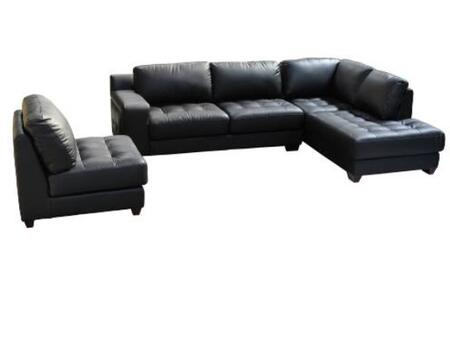 Diamond Sofa LAREDORF3PCSECTB Contemporary Bonded Leather Living Room Set