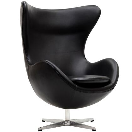 Modway EEI528BLK Lounge Leather Fiberglass Frame Accent Chair