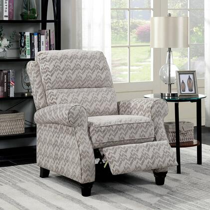 """Furniture of America Amy Collection CM-RC6587XX 34"""" Push-Back Recliner with Chenille Upholstery, Rolled Arms and Plush Cushioning in"""