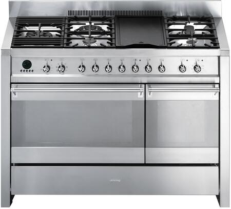 """Smeg A3XU60 48"""" Freestanding Dual Fuel Cavity """"Opera"""" Range with 8 Cooking Modes, 3.2 cu. ft. Capacity, """"Ever-Clean"""" Enameled Oven Interior and 5 Gas Burners in"""