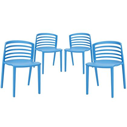 Modway EEI-1315 Curvy Dining Chairs Set of 4 with Modern Design, Easy Clean Surface, and Durable Molded Plastic Construction