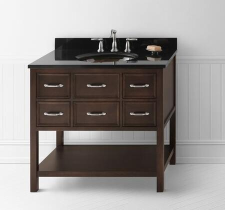 """Ronbow 0527-F13 Newcastle 36"""" Wood Vanity Cabinet with Five Functional Drawers and Open Bottom Shelf: Cafe Walnut"""