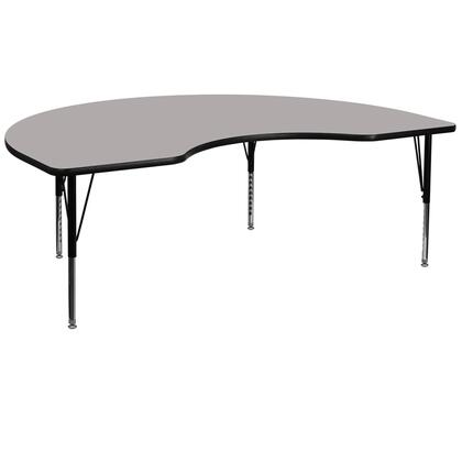 """Flash Furniture XU-A4896-KIDNY-XY-H-P-GG 48""""W x 96""""L Kidney Shaped Activity Table with 1.25"""" Thick High Pressure Laminate Top and Height Adjustable Pre-School Legs"""