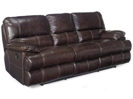 Living Room Espresso Sofa with 2 Recliners