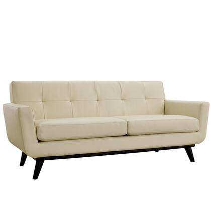 Modway EEI-1337 Engage Leather Loveseat with Contemporary Design, Rubber Wood Frame, White Plastic Glides, 440 lbs. Weight Capacity, Cushioning and Tufted Back