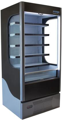 Ojeda ALPAx Open Air Merchandiser with Care Free Condenser, Steel Construction, Electronic Control, LED Lighting and Night Curtain, in Black