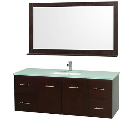 """Wyndham Collection WCV00960 60"""" Single Wall Mount Vanity with Square Undermount Porcelain Sink, 4 Drawers, 2 Doors, and Includes Matching Mirror in"""