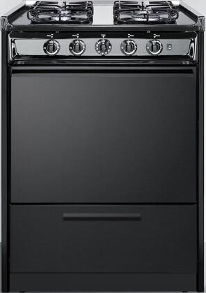 "Summit TTM6107CSxRT 24"" Freestanding Gas Range with 4 Sealed Burners, 2.92 cu. ft. Oven Capacity, Porcelain Construction, Broiler Compartment, Stainless Steel Manifold and 2 Oven Racks, in Black"