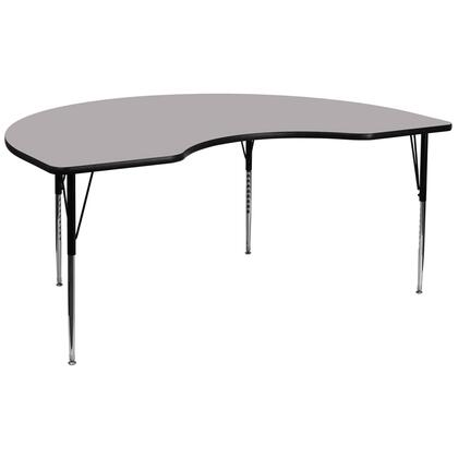 """Flash Furniture XU-A4896-KIDNY-XYX-T-A-GG 48""""W x 96""""L Kidney Shaped Activity Table with Thermal Fused Laminate Top and Standard Height Adjustable Legs"""