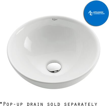 Kraus CKCV1411007 White Ceramic Series Sink and Faucet Bundle with Round Ceramic Vessel Sink and Ramus Faucet