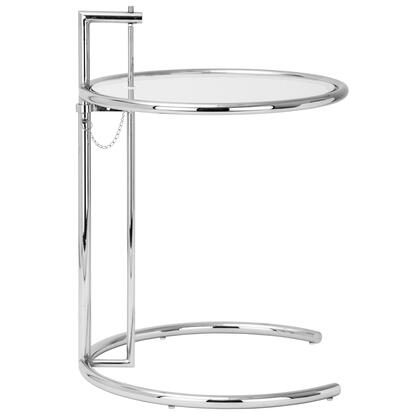 "EdgeMod Eileen Gray Collection 24"" Side Table with Tempered Glass Top, Adjustable Height, C-Shaped Base and Polished Chrome Frame in Silver Color"