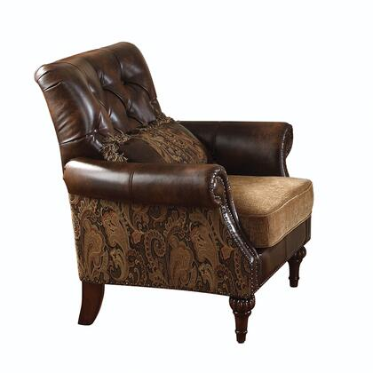 Acme Furniture 05497 Dreena Series Fabric Armchair with Wood Frame in Brown