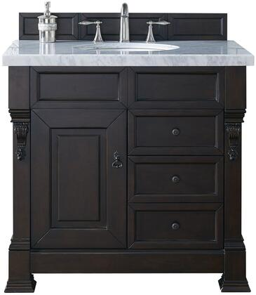 "James Martin Brookfield Collection 147-114-5566- 36"" Burnished Mahogany Single Vanity with Single Soft Closing Door, Two Soft Closing Drawers, Backsplash, Hand Carved Filigrees and"