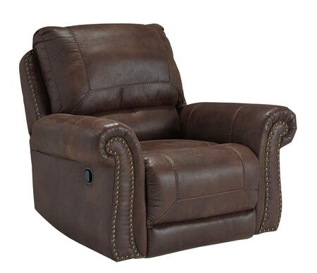 Benchcraft Breville 8000X25 Rocker Recliner with Thick Divided Back Cushion, Nail-Head Trim Accents and Stitching Details in