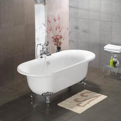 """Cambridge ADENH Acrylic Double Ended Clawfoot Bathtub 70"""" x 30"""" with No Faucet Drillings"""
