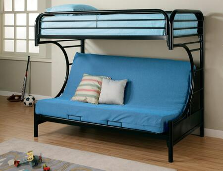 Coaster 2253 Fordham C Style Metal Futon Bunk Bed with Welded Braces and Straight Round Legs in Finish