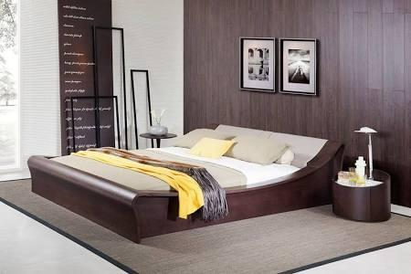 VIG Furniture VGWCC579A Geneva Contemporary Brown Oak Platform Bed w/ Lights, Cup Holders and iPad Holder