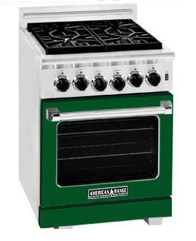 American Range ARR244FG Heritage Classic Series Natural Gas Freestanding Range with Sealed Burner Cooktop, 3.71 cu. ft. Primary Oven Capacity, in Green