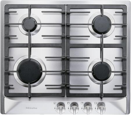 "Miele KM360 24"" XX Cooktop with 4 Sealed Burners, Total BTU Output of 25,600, Wok Burner, Fast Ignition System, Ignition Safety Control, Cast Iron Grates, and Stainless Steel Finish and Frame"