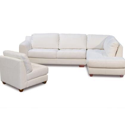 Diamond Sofa ZENRF3PCSECTE Zen Series Stationary Leather Sofa