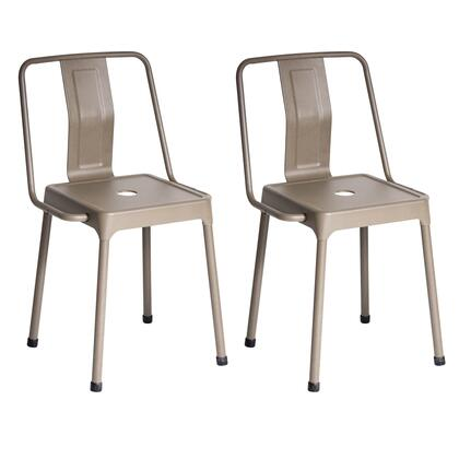 """LumiSource Energy CH-CF-ENRG Set of (2) 30"""" Chair with Slat Back Design, Solid Metal Frame and Floor Glides in"""