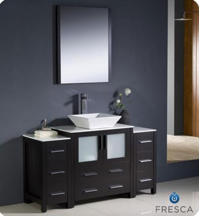 """Fresca Torino Collection FVN62-123012XX-VSL 54"""" Modern Bathroom Vanity with 2 Side Cabinets, 2 Frosted Glass Panel Soft Closing Doors and Vessel Sink in"""