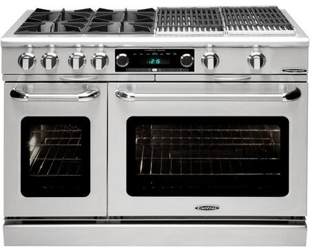 "Capital COB484BBN 48"" Gas Freestanding Range with Open Burner Cooktop, 4.6 cu. ft. Primary Oven Capacity, in Stainless Steel"