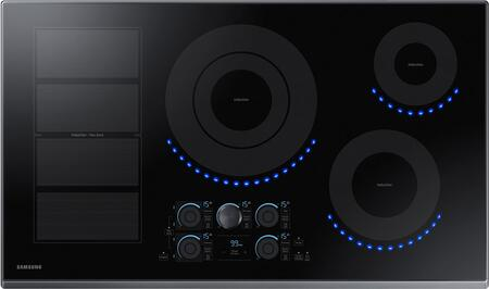 """Samsung NZ36K7880UT 36"""" Induction Cooktop with Induction Flex Zone, Virtual Flame, Wifi, Magnetic Knob and Tap Touch Control, in"""