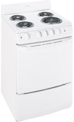 Hotpoint RA7xKWH Freestanding Electric Range with 4 Burners, 3.0 cu. ft. Capacity, Manual Clean Oven, Coil Lift-Up Cooktop, Two Oven Racks, Chrome Drip Bowls, & Coil Heating, in White