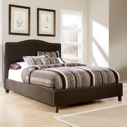 Signature Design by Ashley B6003 Kasidon Size Upholstered Bed with Brown Nailheads, Dark Brown Woven Fabric, Wood Frame and Low Profile Footboard Design in Dark Brown Finish