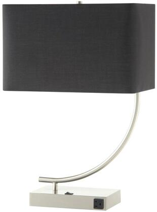 """Coaster Table Lamps 15"""" Table Lamp with Power Outlet, Rocker Switch, Satin Nickel Base and Rectangle Shape Shade in Color"""
