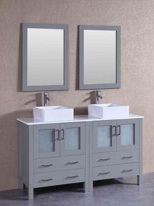"Bosconi AGR230CBEPSX XX"" Double Vanity with Phoenix Stone Top, Square White Ceramic Vessel Sink, F-S02 Faucet, Mirror, 4 Doors and X Drawers in Grey"