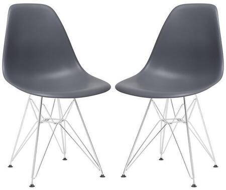 EdgeMod EM104CRMGRYX2 Padget Series Modern Metal Frame Dining Room Chair