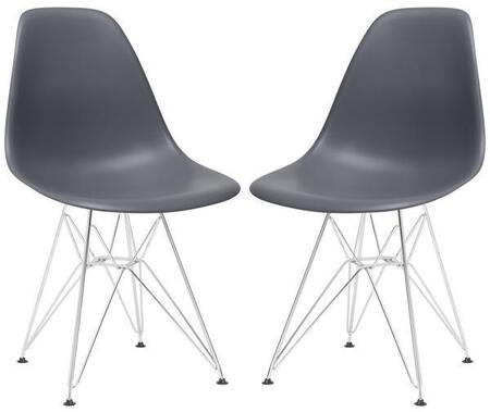 "EdgeMod Padget Collection 21.5"" Set of 2 Side Chairs with Chrome Wire Base, Non-Marking Feet, Matte Plastic Seat and Polypropylene Plastic"