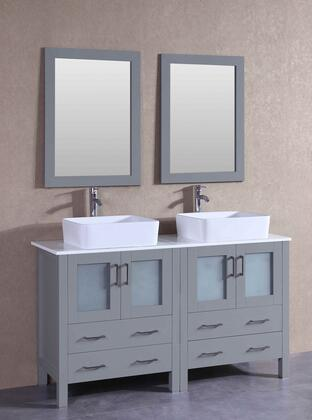 "Bosconi AGR230RCX XX"" Double Vanity with Phoenix Stone Top, Rectangle White Ceramic Vessel Sink, F-S02 Faucet, Mirror, 4 Doors and X Drawers in Grey"
