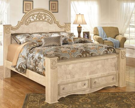 Signature Design by Ashley B346FBSTORAGE Saveaha Collection x Size Poster Bed with Footboard Storage in Light Opulent