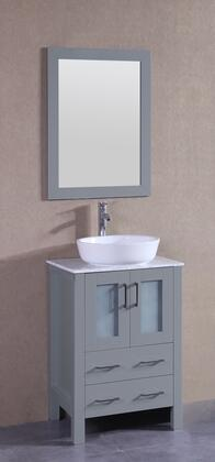 "Bosconi AGR124BWLCMX  XX"" Single Vanity with Carrara Mable Top, Oval White Ceramic Vessel Sink, F-S02 Faucet, Mirror, 2 Doors and X Drawers in Grey"