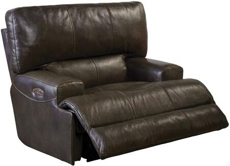 "Catnapper Wembley Collection 50"" Lay Flat Recliner with Extra-Wide 2-Seat ""T"" Front Design, Decorative Luggage Stitching, Coil Seating Comfor-Gel and Genuine Italian Leather Upholstery"