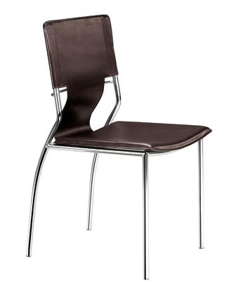 Zuo 404133 Trafico Series Modern Faux Leather Metal Frame Dining Room Chair