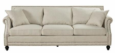 TOV Furniture Camden TOV638023 Linen Sofa with Hand-Applied Copper Nail Head Trim, Kiln Dried Wood and Includes 2 Matching Pillows