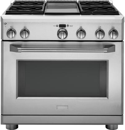 "GE Monogram ZGP364xDRSS 36"" Professional x Range with 4 Sealed Burner with Griddle, 6.2 cu. ft. Oven Capacity, Dual-Burner Bake System and Halogen Lighting, in Stainless Steel"