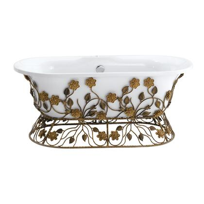 White Finish with Ornate Wrought Iron Base in Burnished Bronze