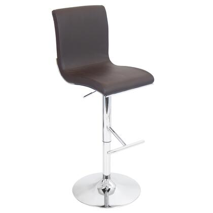 """LumiSource Spago BS-JY-SPAGO 40"""" - 45"""" Barstool with 360-Degree Swivel, Leatherette Upholstery and Chrome Base in"""