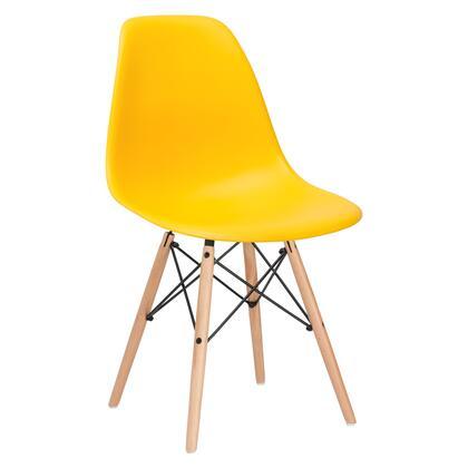 EdgeMod EM105NATYEL Vortex Series Modern Wood Frame Dining Room Chair