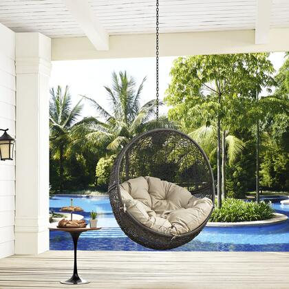 """Modway Hide Collection EEI-2654- 28"""" Outdoor Patio Swing Chair with Adjustable Steel Hanging Chain, Washable Polyester Cushion and Synthetic Rattan Weave in"""