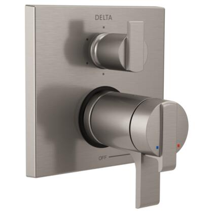 Ara T27T967-SS Delta Ara: Angular Modern TempAssure 17T Series Valve Trim with 6-Setting Integrated Diverter in Stainless