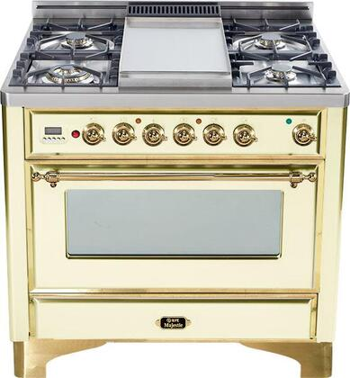 "Ilve Majestic Series UM90MP 36"" Freestanding Dual Fuel Range with 5 Burners, 2.8 cu. ft. Primary Oven Capacity, Convection Oven, Quick Start, Warming Drawer, & Brass Trim, in"