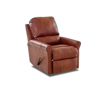 "Klaussner Baja Collection 28"" Leather Reclining Rocking Chair with Cow Hide & Vinyl Upholstery, Lumbar Tufted Cushions and Petite Rolled Arms in"