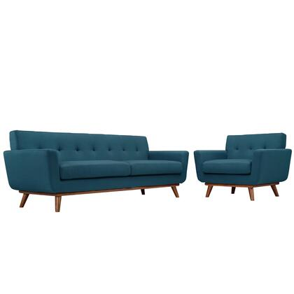 Modway EEI-1344 Engage Armchair and Sofa Set of 2 with Modern Design, Cherry Color Rubber Wood, Plastic Glides, 440 lbs. Weight Capacity and 100% Polyester Upholstery