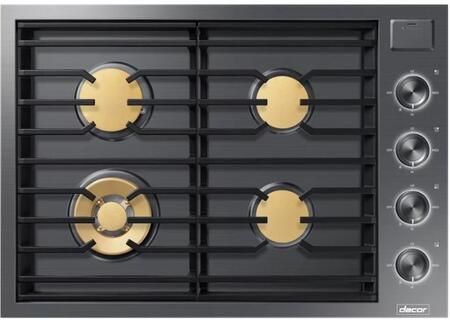 "Dacor DTG30M954F 30"" Modernist Series Built-In Gas Cooktop with 4 Brass Burners, Automatic Burner Reignition, Continuous Grates, and iQ Kitchen App, in"